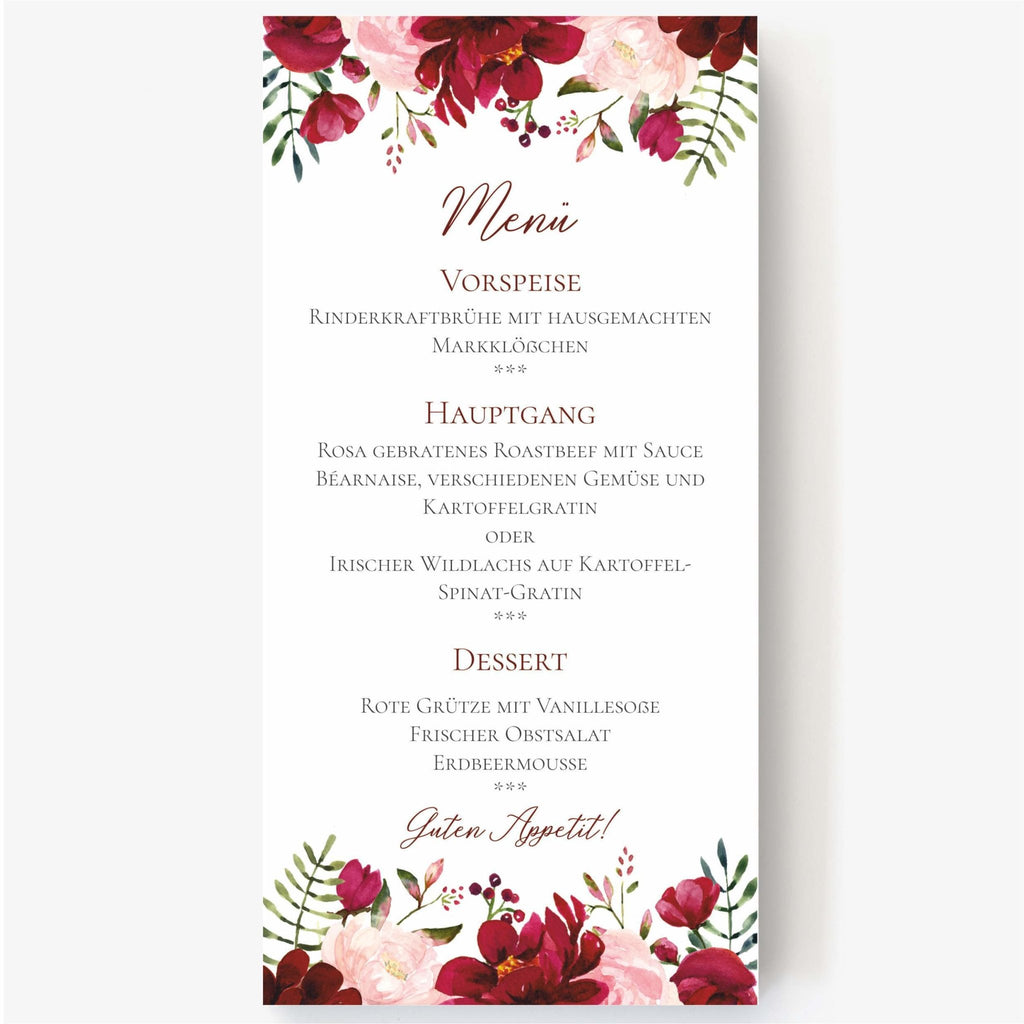 Menu card PEONY - Suzu Papers
