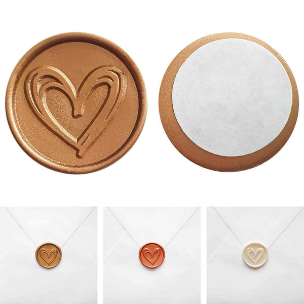 Self-adhesive wax seal HEART, 15 pieces - Suzu Papers