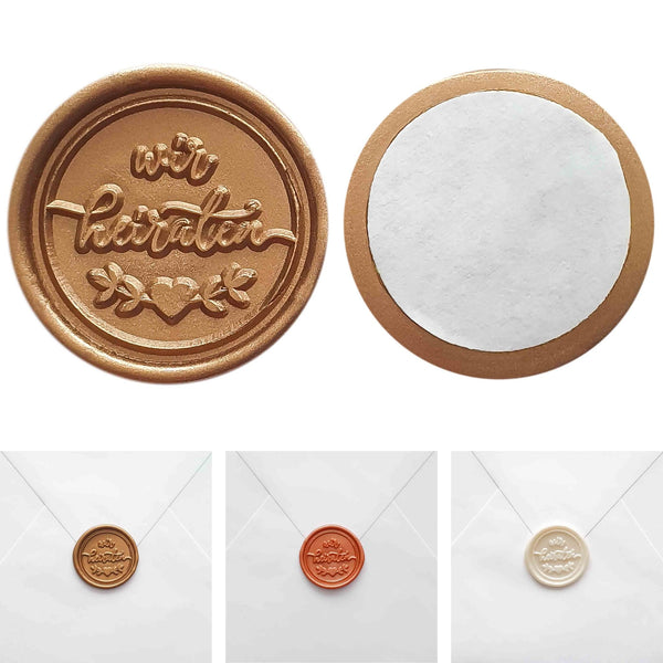 Self-adhesive wax seals WE WILL MARRY, 15 pieces - Suzu Papers