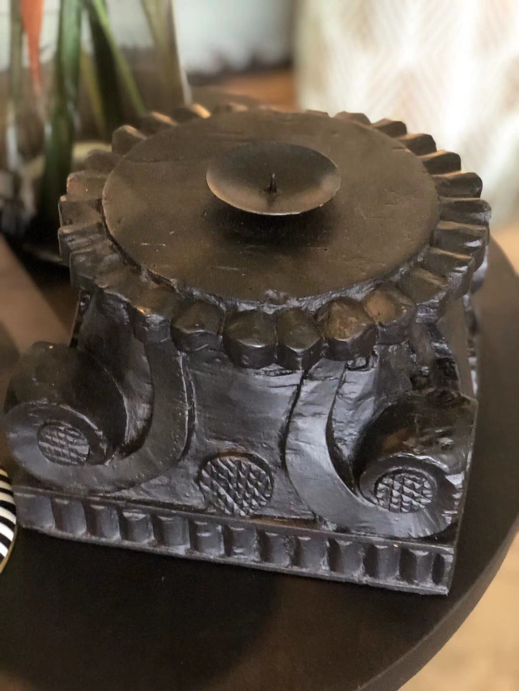 Hand carved candle stand
