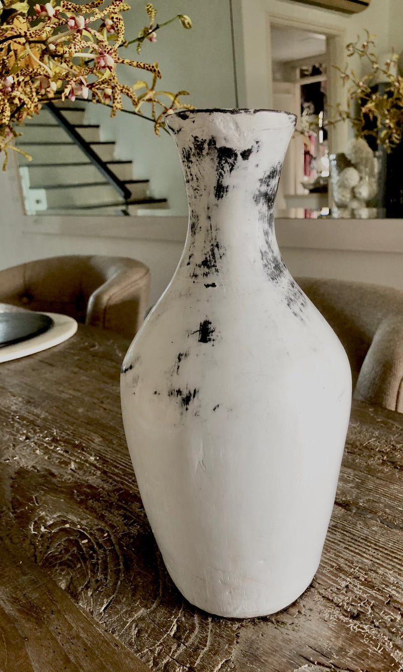 White distressed vase