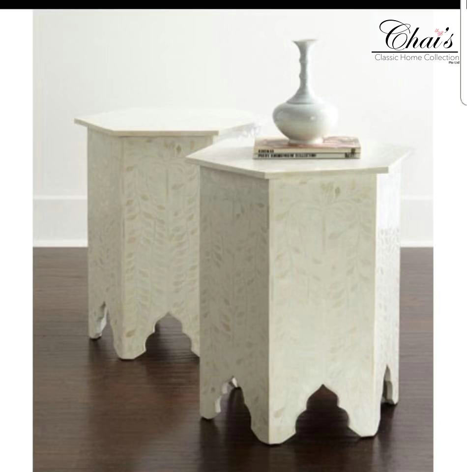 Bone Inlay Stool 0202