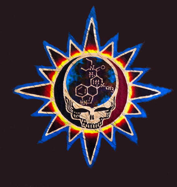 Contained within the Steal Your Face skull is the molecular structure of the LSD molecule.