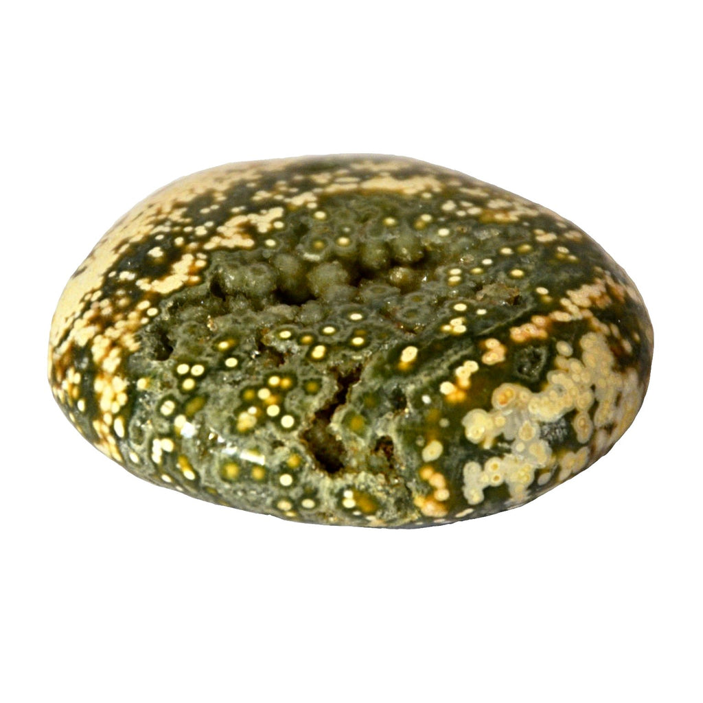 Natural Obicular Jasper with greens, white and small yellow spots. This worry stone is naturally different on both sides!