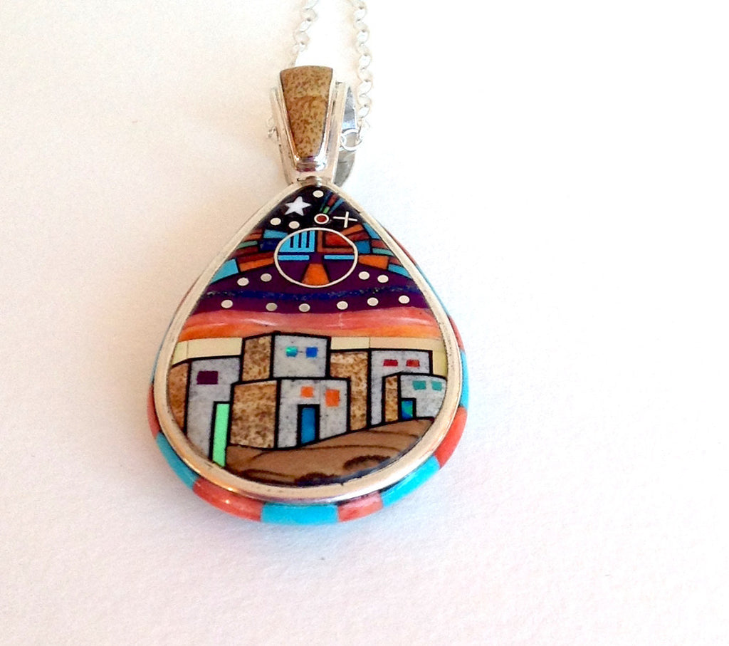 Night sky details of Inlay Pendant, Village Scene