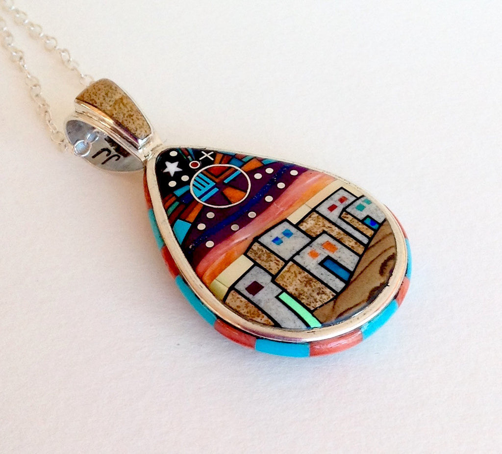 Side View of Inlay Pendant showing stone details