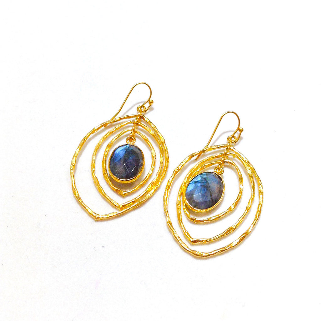 center oval of blue labradorite surrounded by gold concentric cats eye shapes
