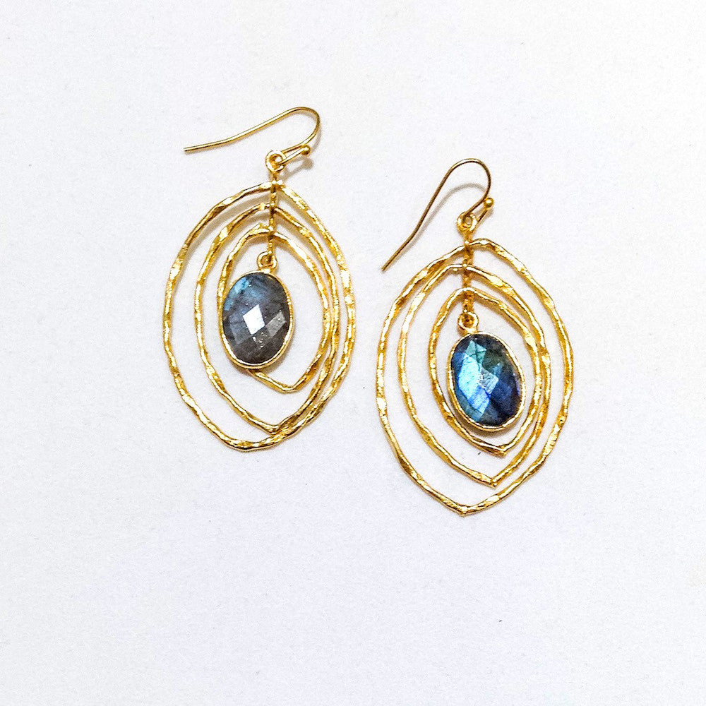 mulit faceted center oval of blue labradorite surrounded by gold concentric cats eye shape earrings