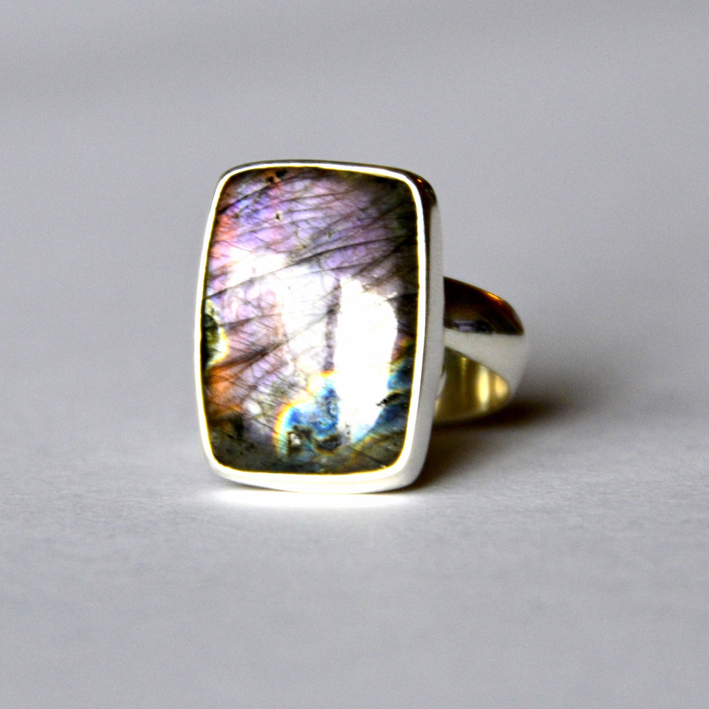 rectangle shaped labradorite purple tone ring