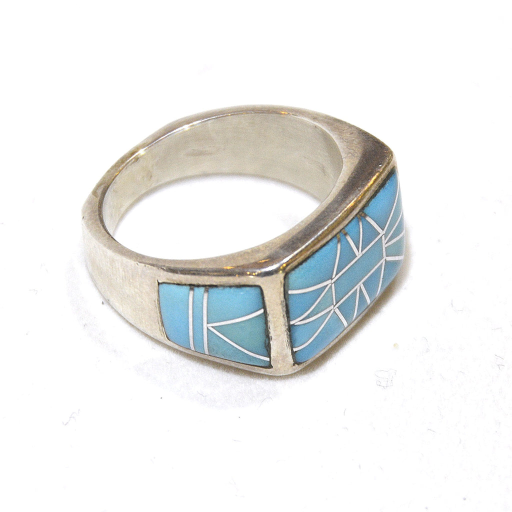 clear bright blue turquoise inlay sterling artist created ring at dakotanature.com