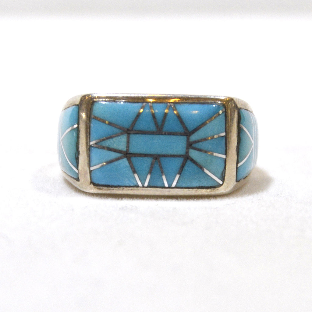 robins egg blue turquoise inlay sterling artist created ring at dakotanature.com