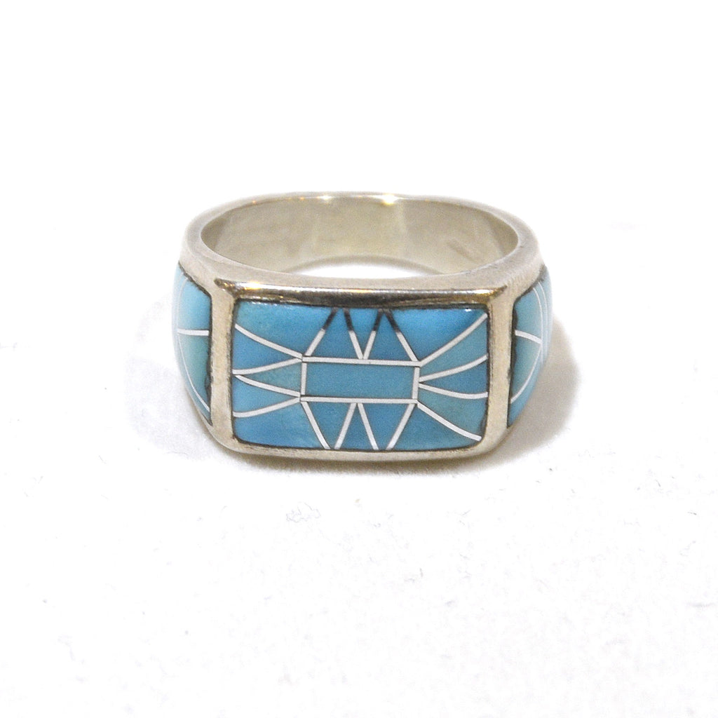 full front of beautiful blue turquoise inlay in our sterling silver artist made ring at dakota nature and art
