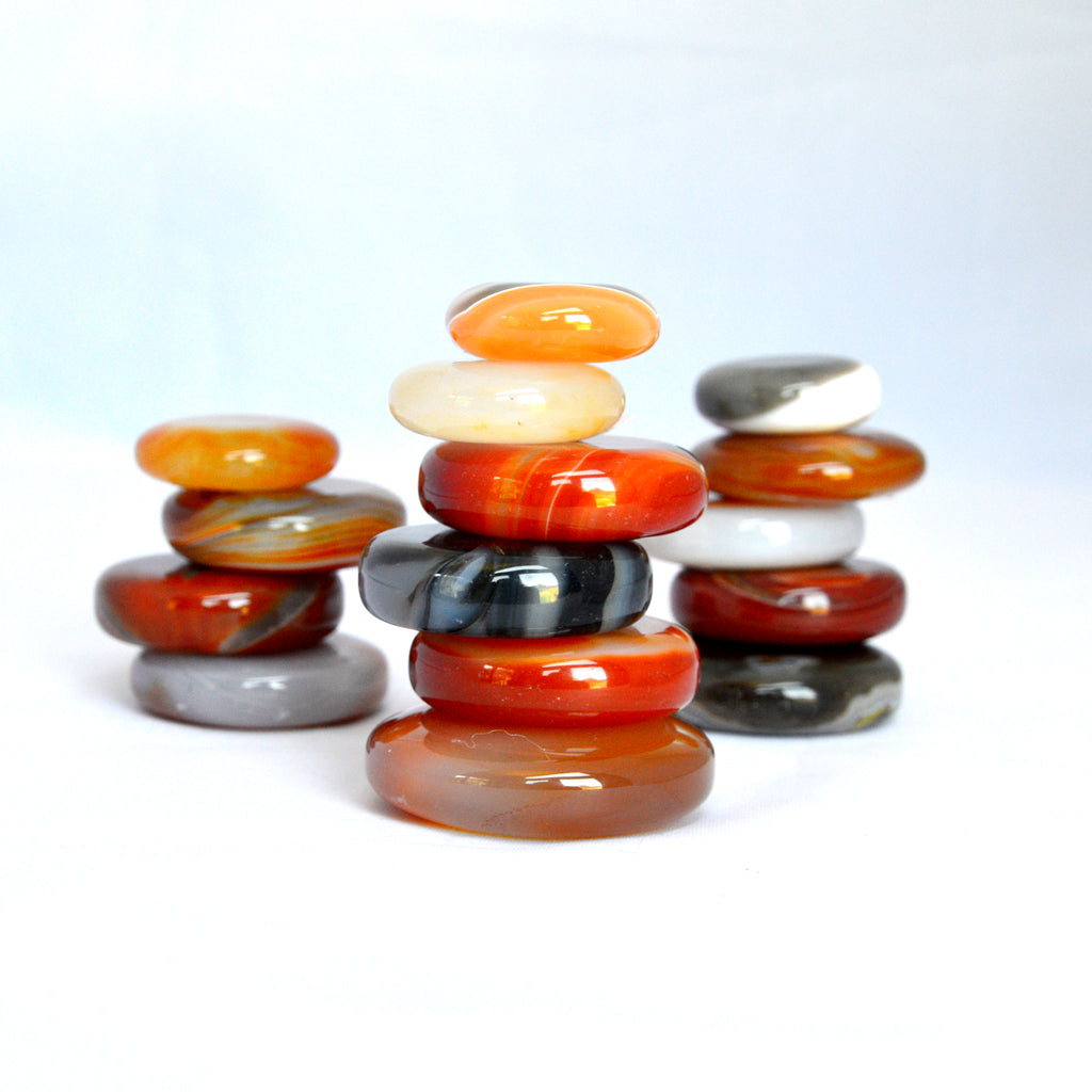 banded agate and carnelian stacking stone discs