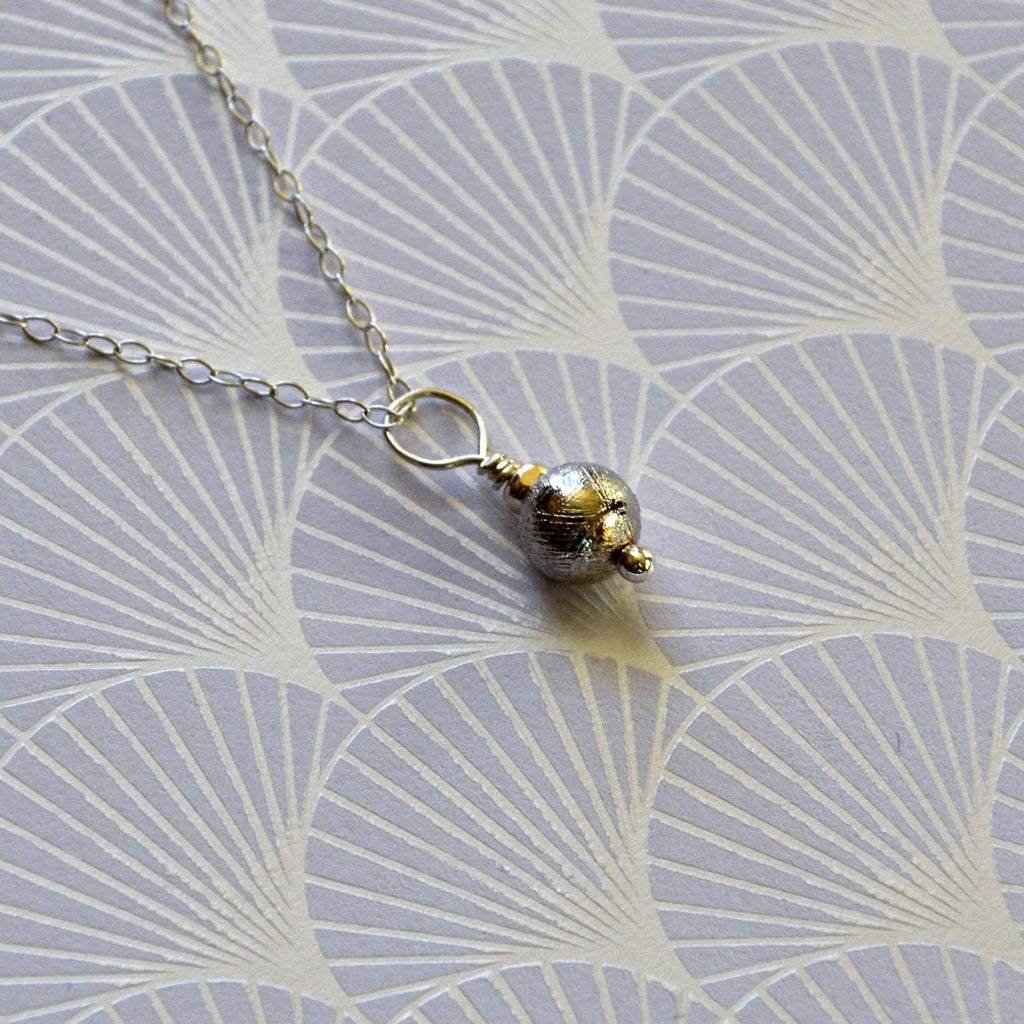 Simply Small Meteorite Pendant with Silver