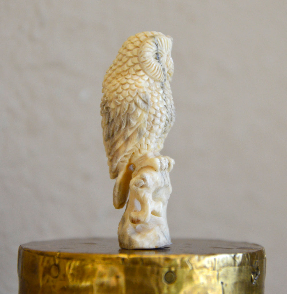 side view of hand carved owl from antler
