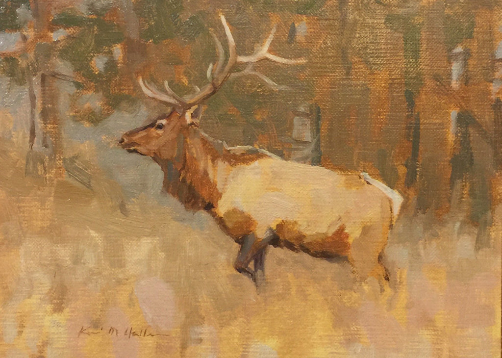 Elk painting set in the forests of the Black Hills amid fall colors of browns and green