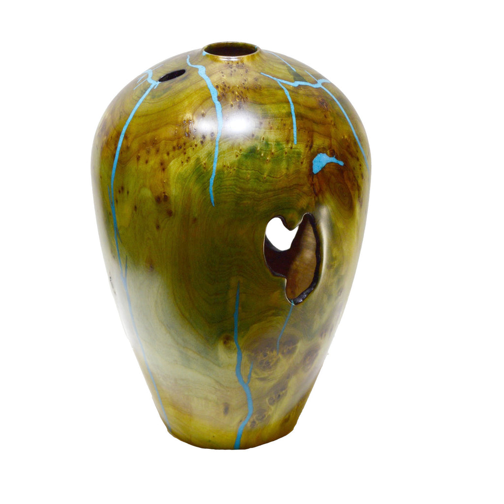 Gorgeous turned wood vase with turquoise inlay by Jerry Green