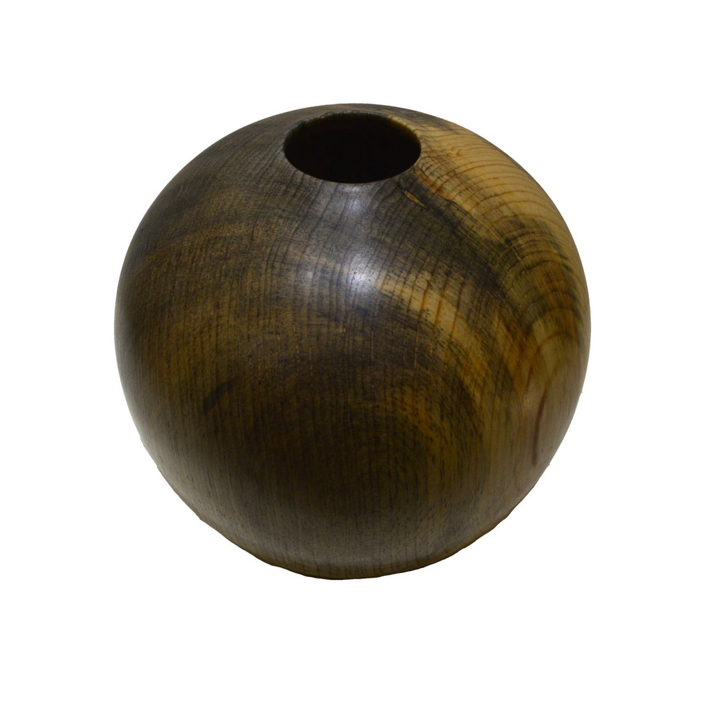 Ponderosa Pine turned wood vessel in gray and soft beige color