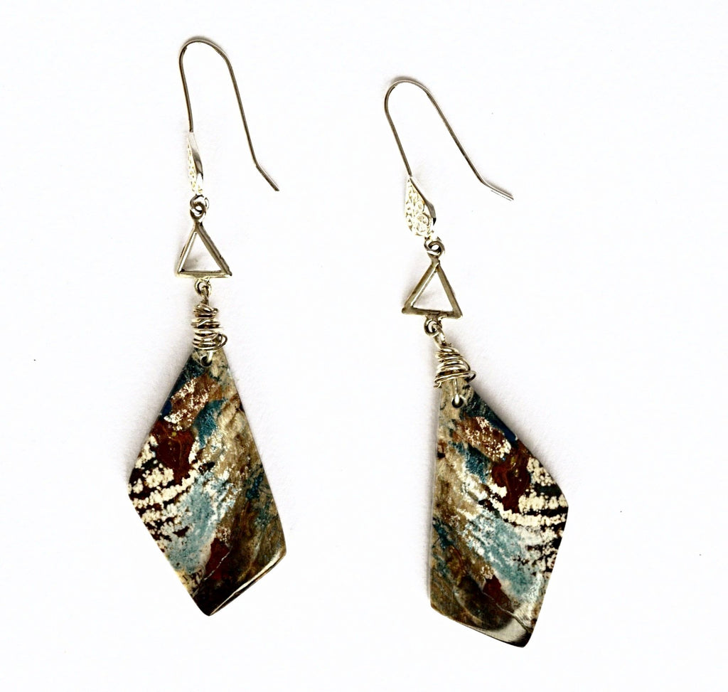 Rare blue Collar Petrified Wood earrings with sterling silver hoops and triangle.