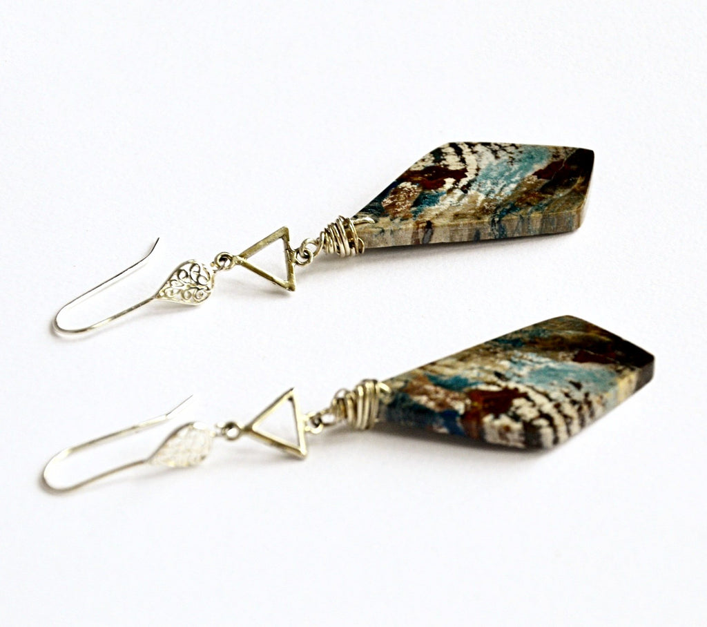 Rare blue Collar Petrified Wood earrings with sterling silver.