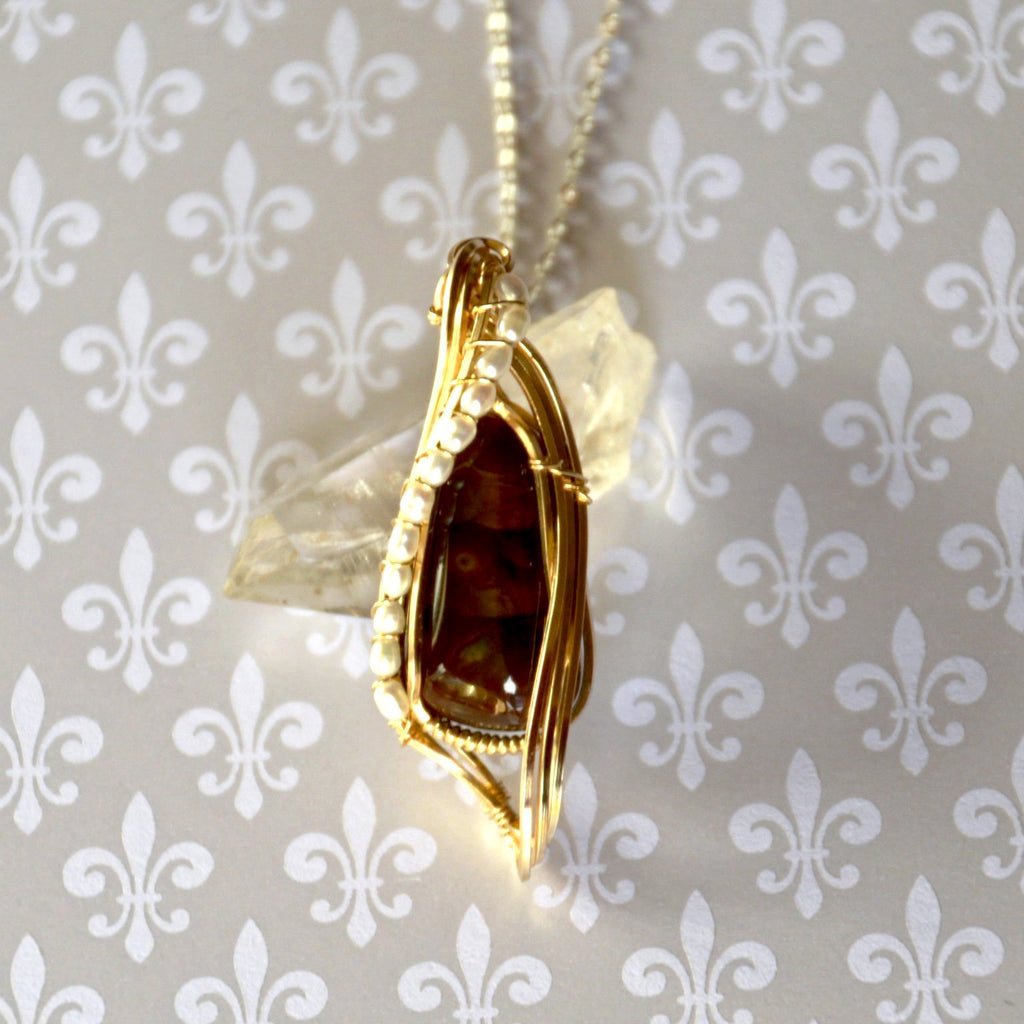 Fire Agate and Pearl Pendant