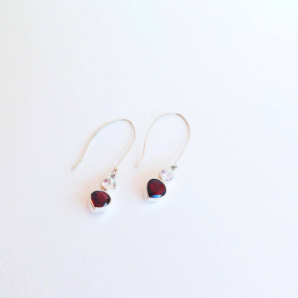 Red Garnet and White Topaz Earrings