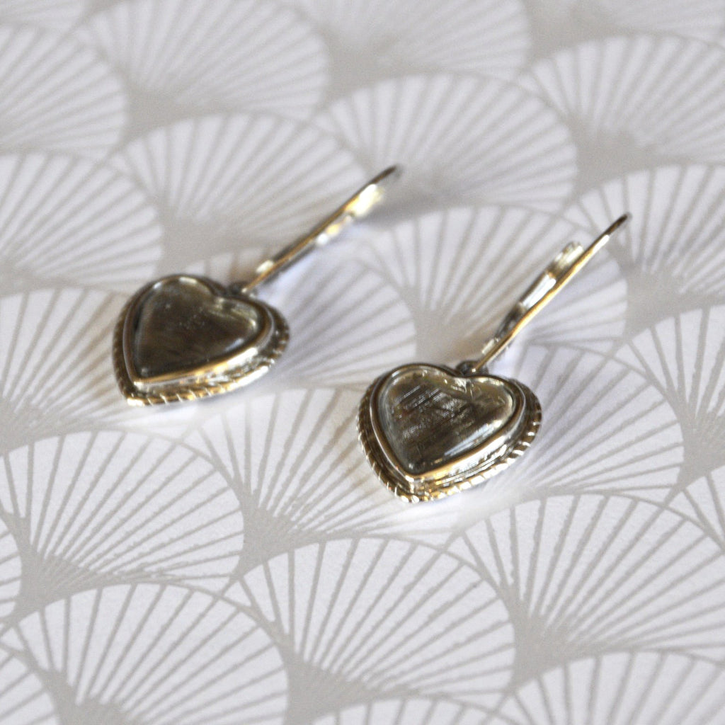 Heart Meteorite Earrings