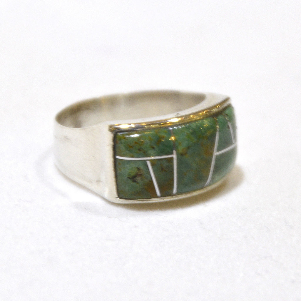 green inlay turquoise ring at dakota nature and art