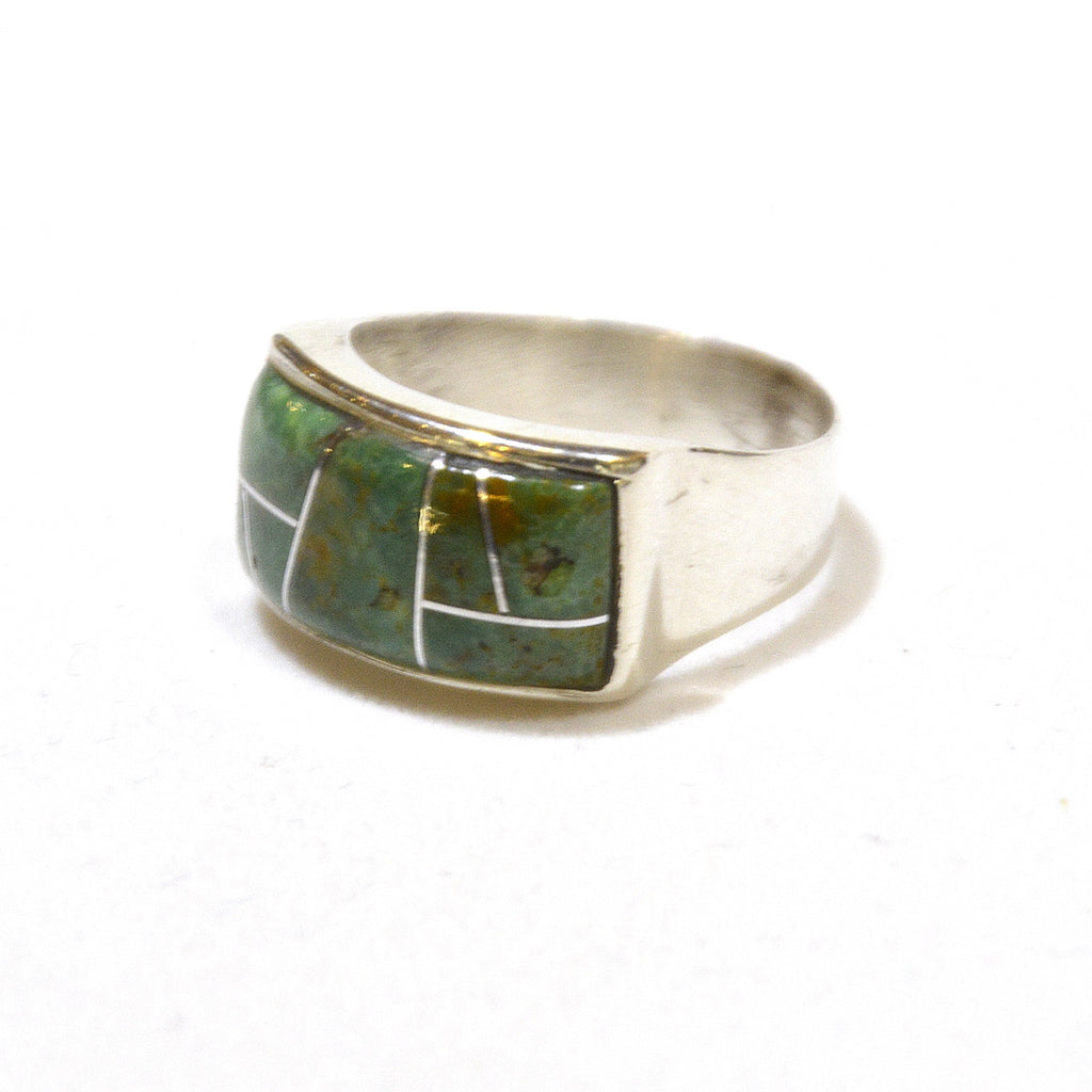rich olive green turquoise inlay ring at dakota nature and art