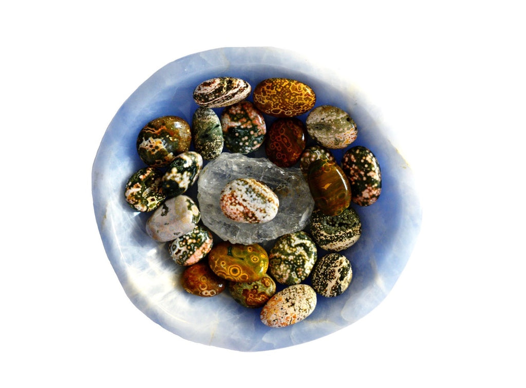 a nice selection of worry stones waiting for a home