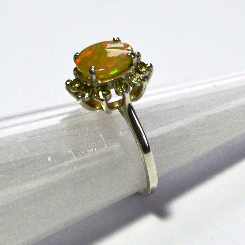 Fire in the Sky, Sunburst Opal & Peridot Ring