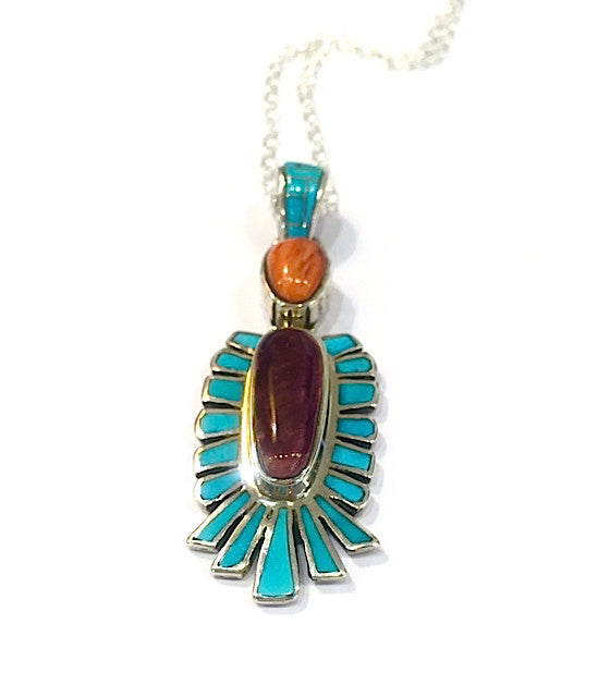 Sunrise Pendant, Inlay with Turquoise and Spiny Oyster Shell