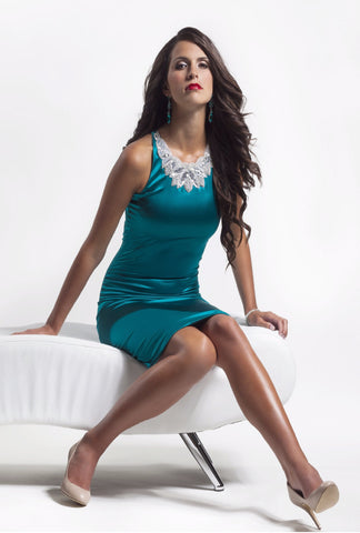 Emerald Green Silk Cocktail Dress with Applique