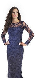 Victoria Navy Blue Long Lace Gown