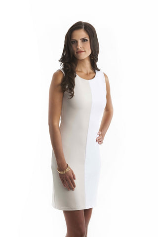 Bianca Beige and White Color Block Fitted Dress