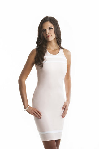 Penelope Pink and White Fitted Dress