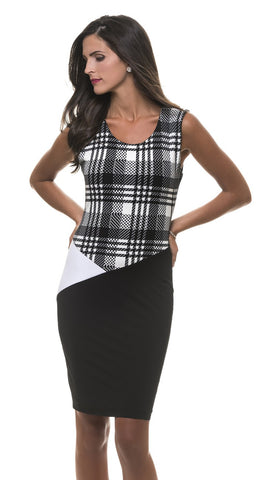 Adeline Preppy Print Color Block Dress