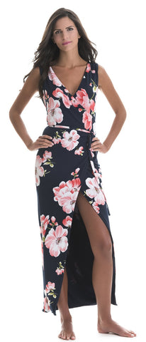 Athena Pink Flower Wrap Dress