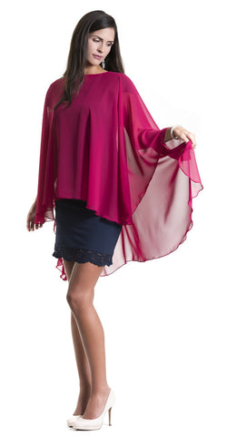 Berry Red Chiffon Glamour Poncho Cape