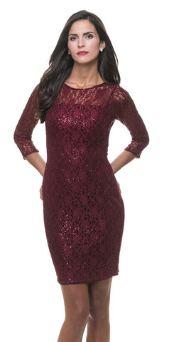 Vivienne Berry Red Sparkle Lace Dress