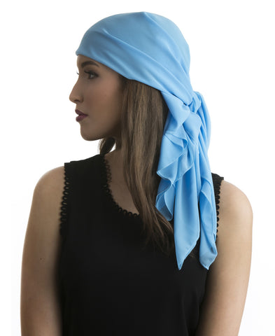 Bright Blue Chiffon Head Scarf