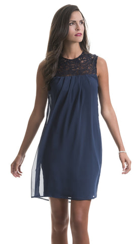 Caitlyn Navy Lace Chiffon Dress