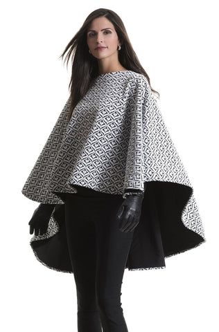 Charlotte Black and White Quilted Poncho Cape