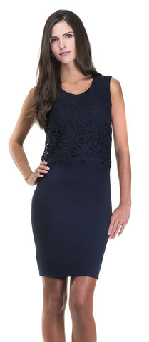 Christina Navy Blue Lace Crop Top Dress