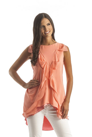 Sleeveless Chiffon Ladies top in pink coral with ruffles down the front and a high low bottom