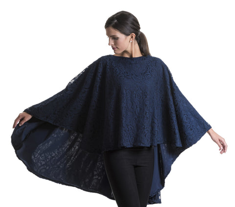 Evelyn Elegant Navy Lace Cape