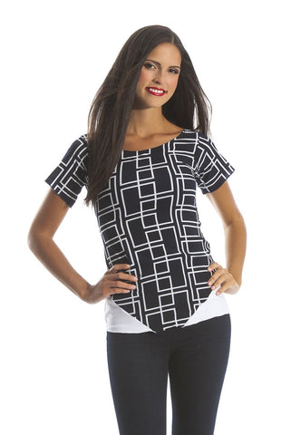 Ladies Navy and White Geometric Print Chiffon Top With Short Sleeves