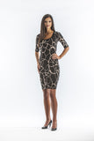 Black and Mocha Swirl Dress with Elbow Length Sleeves