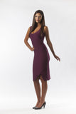 Slim Fit Purple Triangle Slit Dress