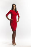 Red Cocktail Dress with Elbow Length Sleeves